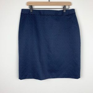 Brooks Brothers 346 Blue Eyelet A-Line Skirt